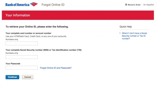 bank of america online banking forgot online id & passcode